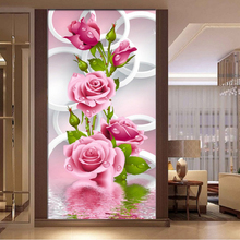 Large size picture Rose Flowers diamond Embroidery diy painting mosaic 3d cross stitch pictures H434