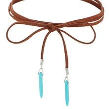 Blue Stone Velvet Belt Chain Necklaces