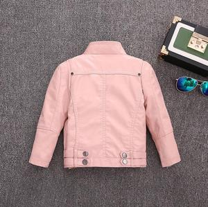 Image 2 - 2 14Y HOT selling new Pu leather jackets for baby girl and boys loose good quality children coats kids spring sutumn tops ws410