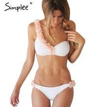 Simplee Сексуальная 3D цветок одно плечо комплект бикини Проложенный из двух частей белый купальники женщины Винтаж летний пляж купальник biquini