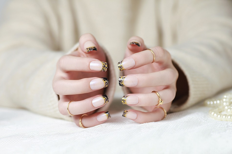 French Leopard false nail art fake nails patch nail tips
