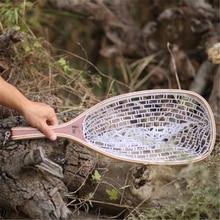 High quality 61cm wooden handle plastic fly fishing dip net fishing net fishing tackle