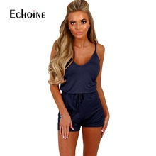 2019 Sexy Summer Spaghetti Strap Short Playsuit Women Sleeveless V Neck Casual Shorts Jumpsuit Elastic Waist One Piece Playsuits