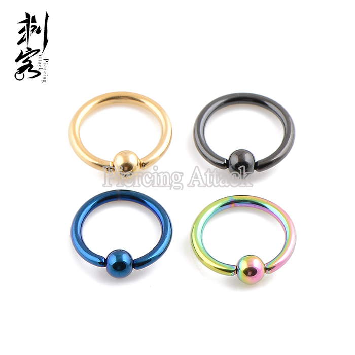 Body Piercing Jewelry Steel 14 Gauge Titanium Anodized Captive Ring BCR 1.6*10*4mm Mixed Colors body jewelry