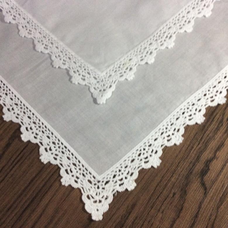 Set Of 12 Fashion Ladies Handkerchiefs 12-inch Sweet Heart Hanky Crochet Lace Edging Wedding Hankies For Bride