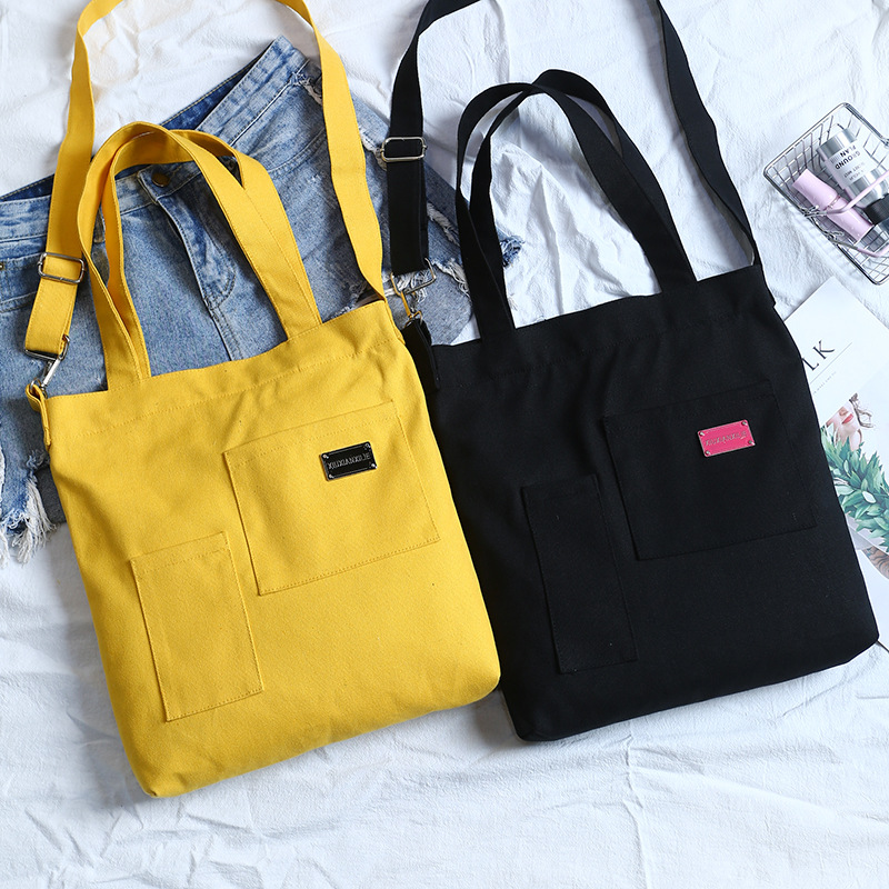 Zipped Solid Cotton Canvas Eco Shoulder Tote Messenger DIY Painting 8510-5