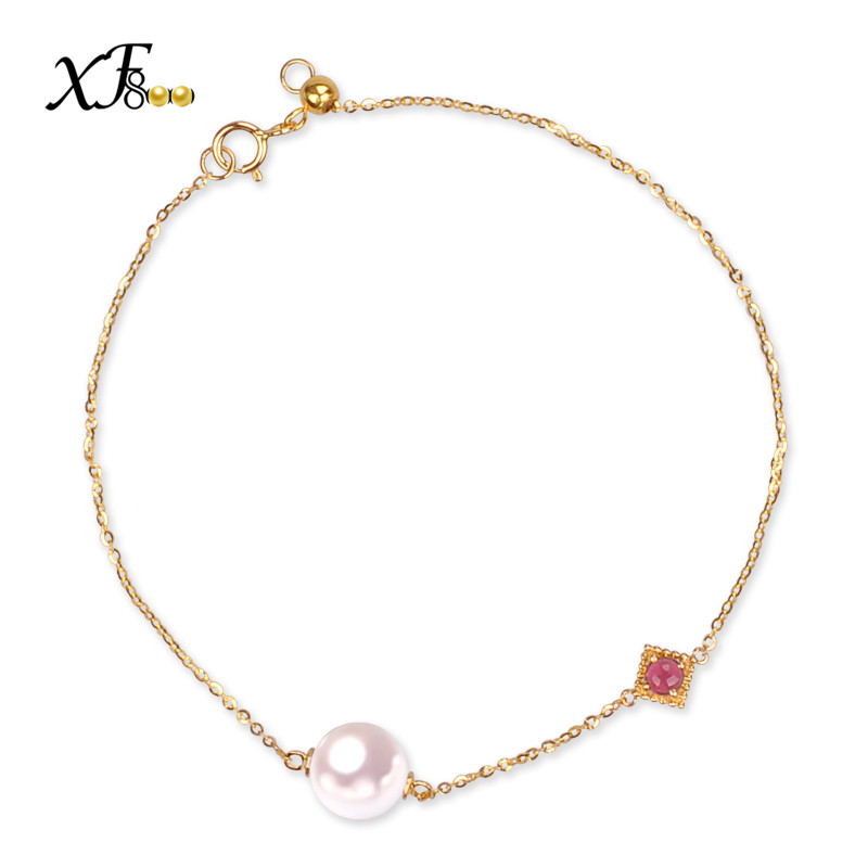 все цены на XF800 Natural Akoya Sea Pearl Bracelet 7-7.5mm AU750 18K Yellow Gold Sea Pearl Bracelet Classic Birthday Gift For Women S113