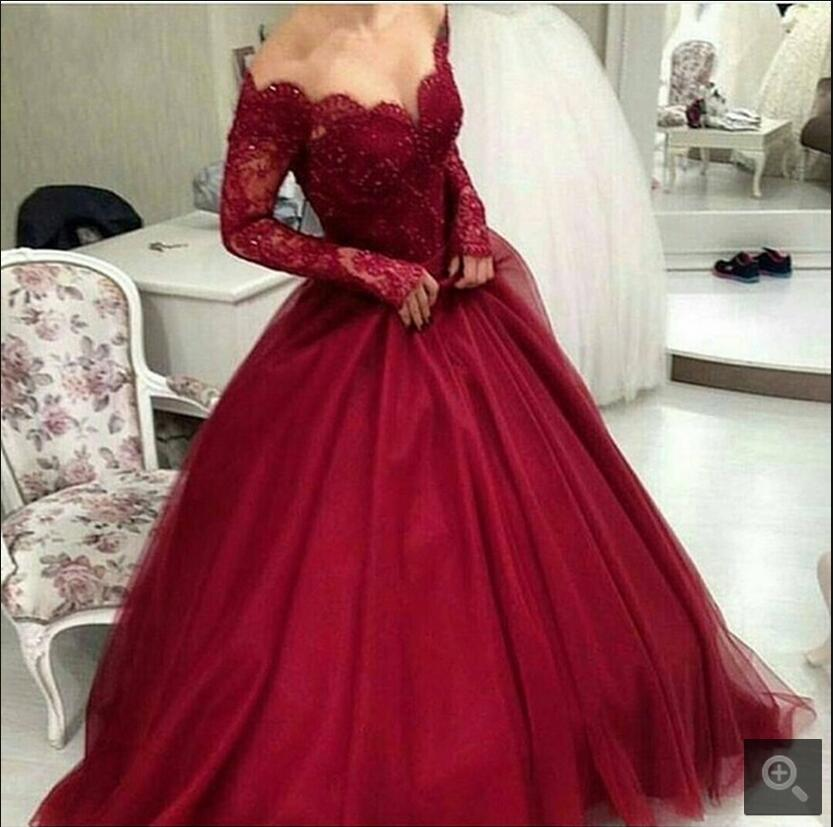 New Arrival V-neck Long Sleeve modest Women Arabic prom Gowns Beaded Applique Floor Length Ball Gown Burgundy prom Dress 2016