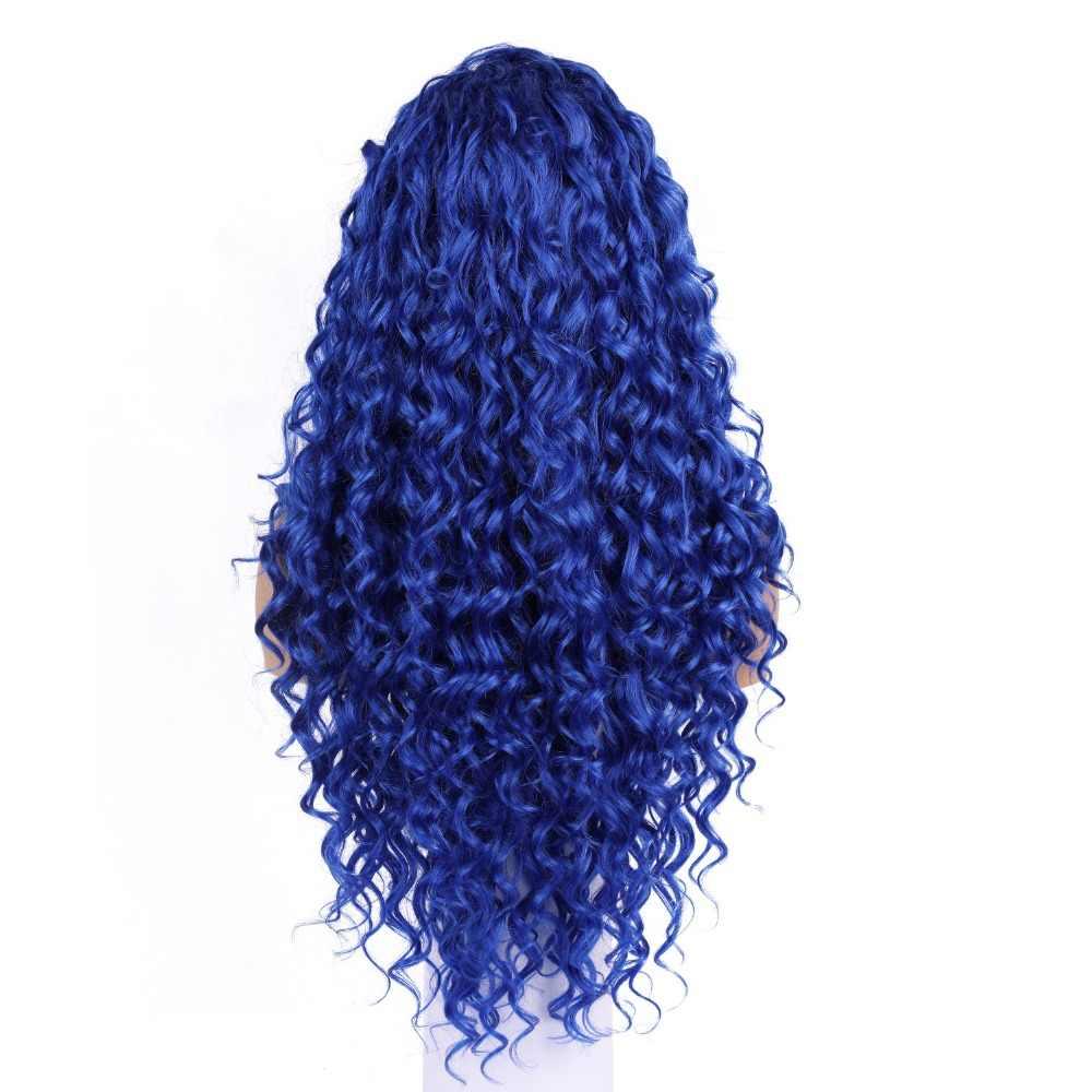 EEWIGS Half Blonde Half Zwart Synthetische Lace Front Pruik Hittebestendige Krullend Pruik Lijmloze Blauw Pruiken Voor Zwarte Vrouwen Slepen koningin