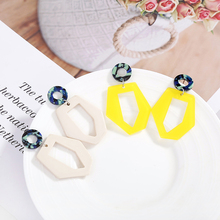 XIYANIKE 2018 New Design Hit Color Acrylic Dangle Earring Irregular Geometric Pendientes For Women Accessories Wedding Gift E232