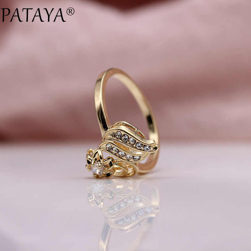 PATAYA New 585 Rose Gold White Rhinestones Round Natural Zirconia Rings Women Wedding Party Cute Girls Simple Fine Gift Jewelry