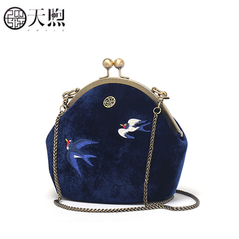 Pmsix 2019 New Women bag luxury handbags designer velour handbags fashion embroidery shell bag women shoulder Chain bagPmsix 2019 New Women bag luxury handbags designer velour handbags fashion embroidery shell bag women shoulder Chain bag