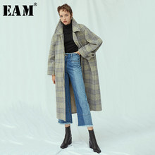 [EAM] Loose Fit Gray Plaid Long Oversize Woolen Coat Parkas New Turn-down Collar Long Sleeve Women Fashion Winter 2019 JY845(China)