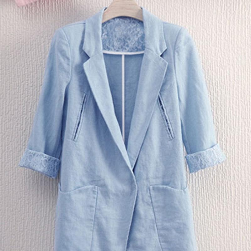 Summer New Women's Temperament Large Size Suit Jacket Women's Loose Casual Cotton And Linen Blazer Women's Slim Small Suit
