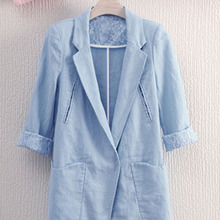 Summer new women's temperament large size suit jacket women's loose casual cotton and linen
