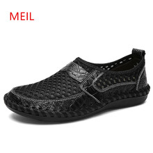 New Summer Genuine Leather Slip on Shoes Men Casual Breathable Mesh Loafers Mens Sneakers Footwear