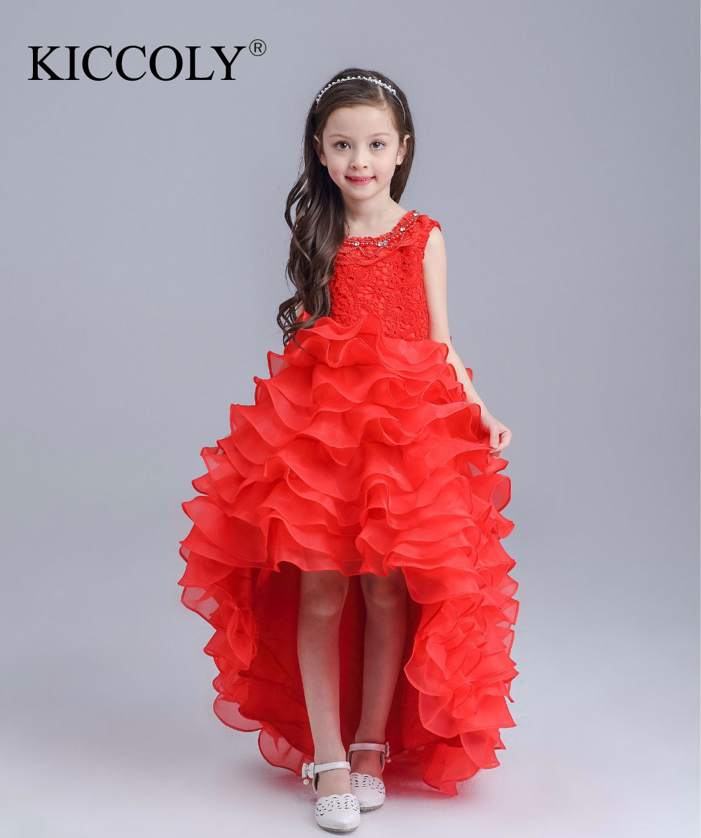 New Pretty Scoop Ivory Red Flower Girls Dresses 2016 Floor-Length Girls Holy First Communion Layered Dress for Wedding and Party new pretty scoop ivory red flower girls dresses 2016 floor length girls holy first communion layered dress for wedding and part