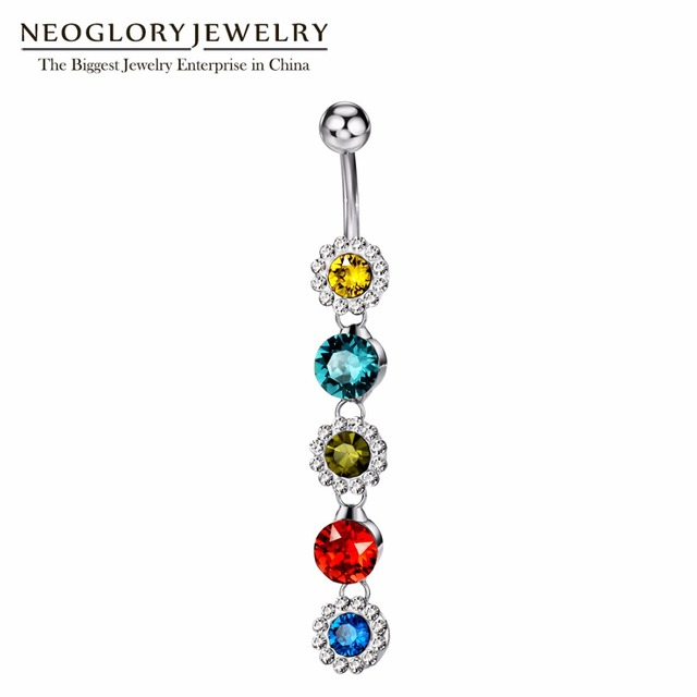 Neoglory Rhinestone Piercing Belly Button Rings For Women Body Piercing  Colorful Shining Flower Navel Fashion Jewelry 6006c0822229