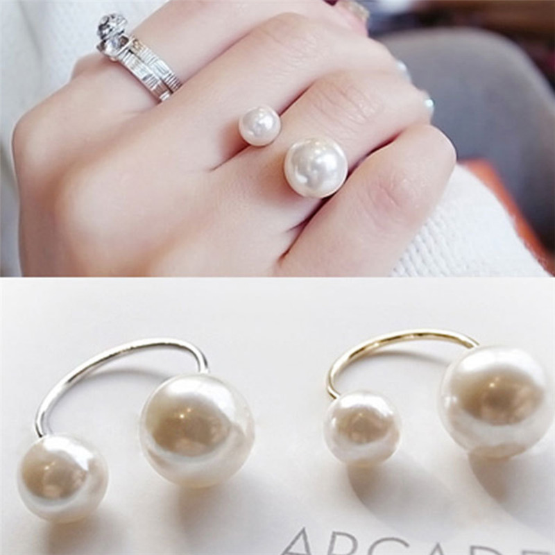 12Pcs/lot Fashion Imitation Pearls Adjustable Ring Women Anello Pearl Ring Wholesale