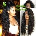 Glueless Полное Кружева Парик Человеческих Волос Для Черных Женщин Бразильский Виргинский волосы Full Lace Парики Глубоко Фигурные Кружева Перед Парики С Ребенком волос