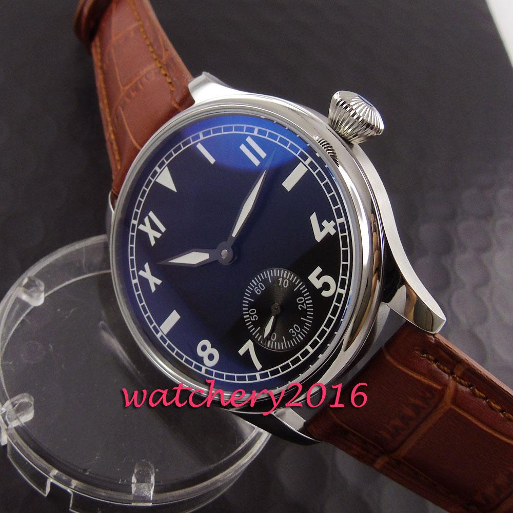 лучшая цена Casual Parnis 44mm black dial stainless steel case 6498 hand winding movement Men's Watch