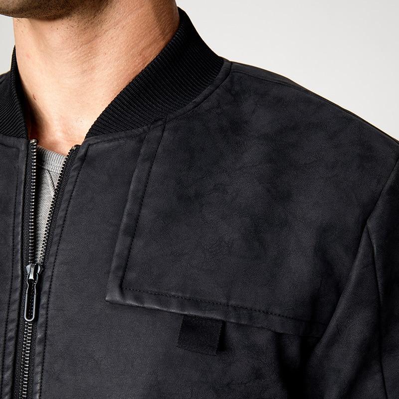 ฤดูใบไม้ร่วง Zipper กระเป๋าของแข็งสีดำเสื้อผ้าสำหรับ Man Casual Slim Fit เสื้อแจ็คเก็ตนักบิน 2018 ใหม่ชาย Outerwear Coat 08223-ใน แจ็กเก็ต จาก เสื้อผ้าผู้ชาย บน   3
