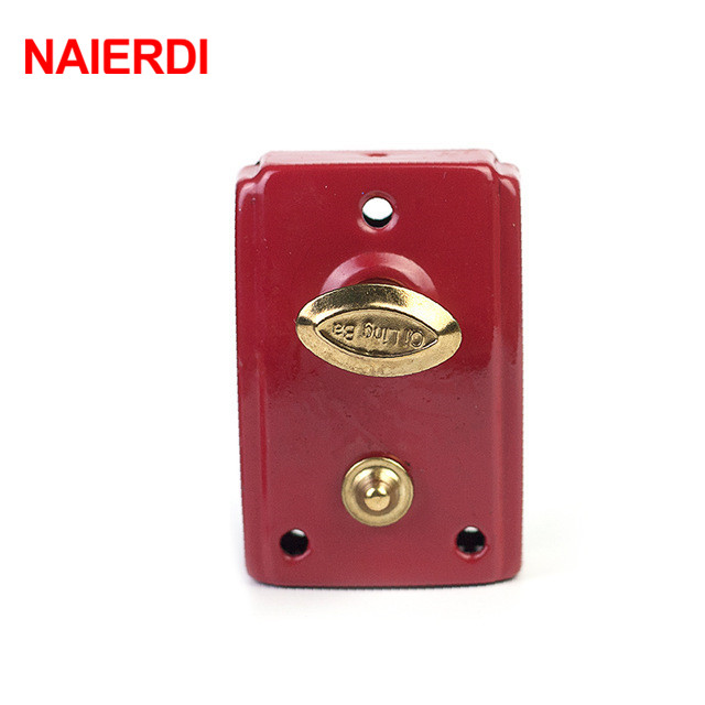 NED-556 Exterior Door Retro Red Locks Security Anti-theft Lock Multiple Insurance Lock Wood Door Lock For Furniture Hardware free shipping dry battery rfid electronic door locks security anti theft lock multiple insurance lock with battery box