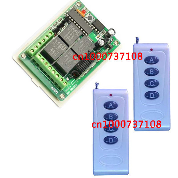 New Free Shipping DC 12V 10A 4CH Learning Code RF Wireless Remote Control Switch Systems 1 Receiver 2 controllers