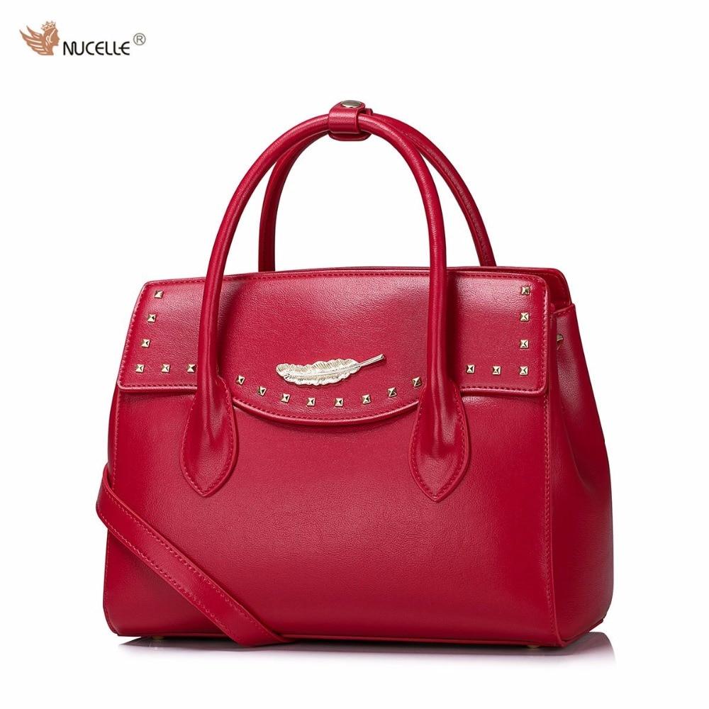 2017 New NUCELLE Brand Design Fashion Rivets Long handle High Quality Soft PU Leather Women Lady Handbag Shoulder Bags