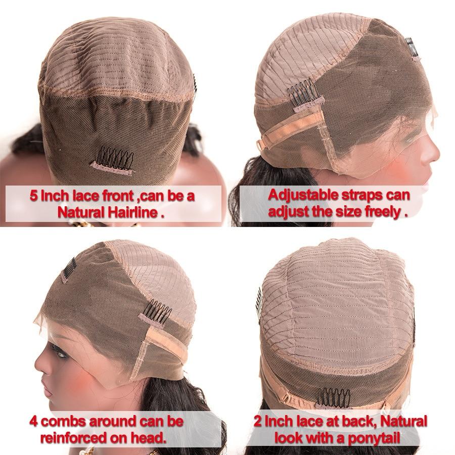 360 мережива фронтальний перуку - Людське волосся (чорне) - фото 2