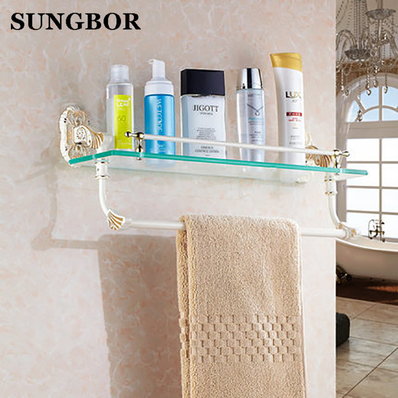 free shipping single bathroom shelf accessories wall mounted golden bathroom
