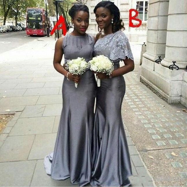 Dark Gray Bridesmaid Dresses Cheap Plus Size Mermaid Long Bridesmaid
