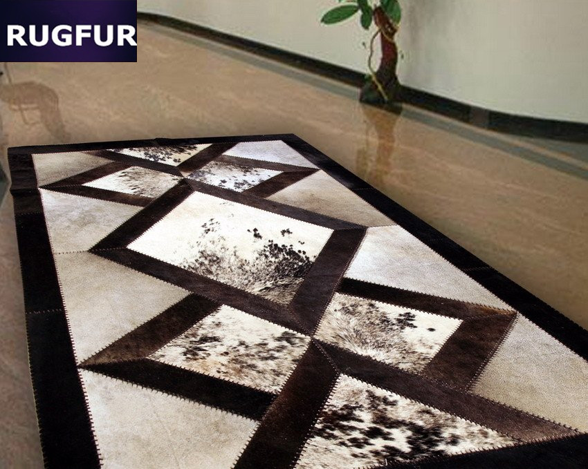 PATCHWORK COWHIDE RUG FUR B4 COW SKIN LEATHER HIDE