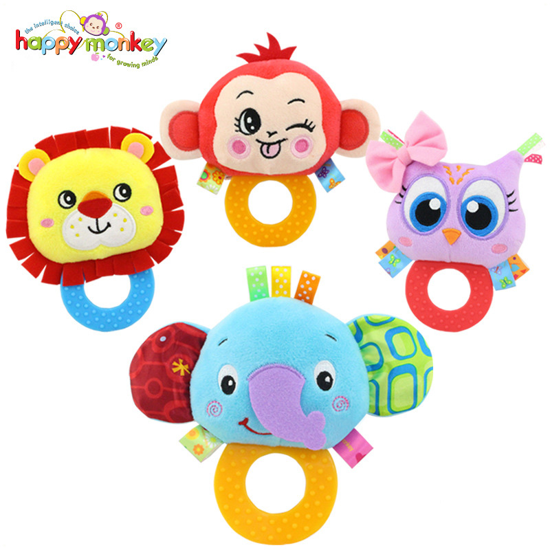 Happy Monkey Animal Shape Infant Hand Bell Baby Rattles with Jelly Teether Newborn Bibi Sound Plush Baby Toys