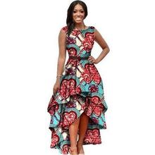 African Women Big Swing Maxi Dress Color Printing Dresses Long Short Sleeve  Sashes O-Neck 3d24cbf213da