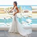 hochzeitskleid 2017 V-neck Mermaid Lace Summer Wedding Dress Bohemian Sleeveless Open Back vestidos novia