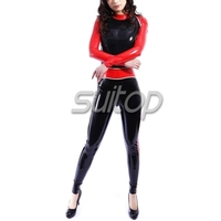 Fress shipping shiny red sexy corset latex rubber full body sexy catsuit latex garment with back zipper