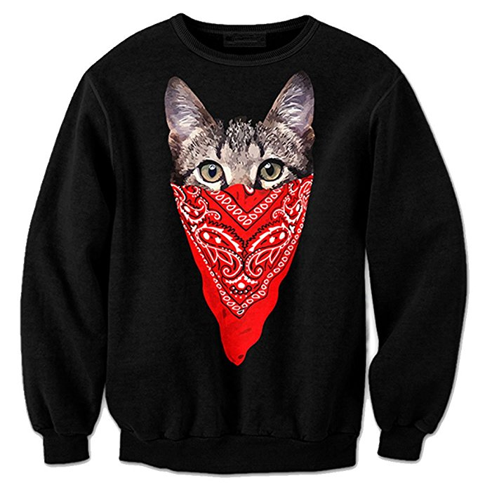 2018 NEW FASHION STYLE MEN WOMEN MAN lovely kitten scarf black Sweat shirts Pullovers Tracksuit Streetwear Loose Thin Hoody Top