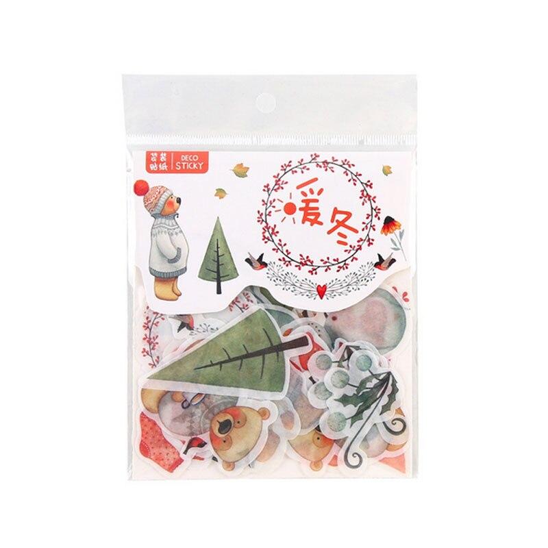 Купить с кэшбэком 40 Pcs/Bag Cute cartoonForest animals paper sticker decoration DIY ablum diary scrapbooking label sticker stationery