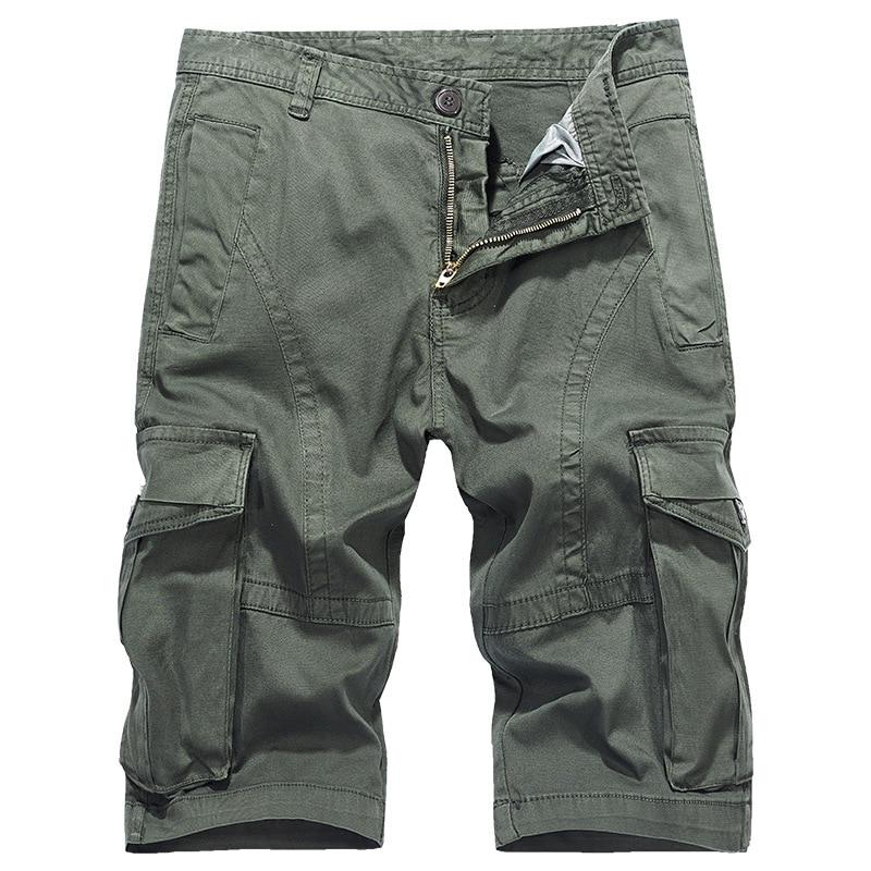 Men's casual  loose multi-pocket overalls Large men's five-point