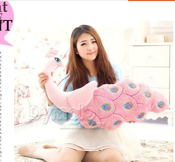 Grand nouveau jouet de paon en peluche créatif beau cadeau de poupée rose oreiller de paon environ 80 cm