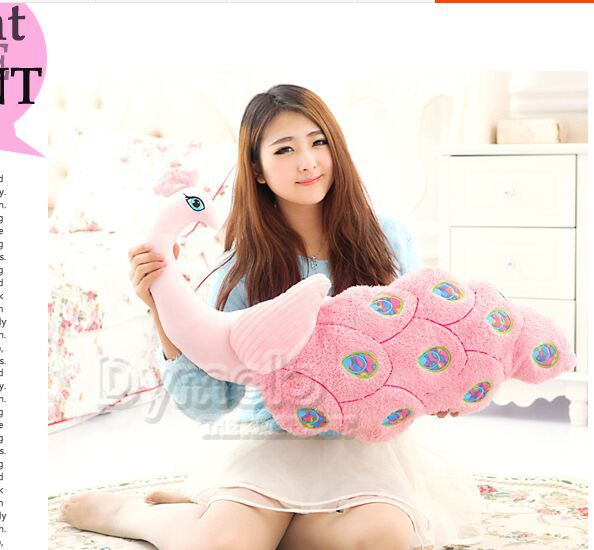 big new creative plush peacock  toy lovely beautiful peacock pillow pink doll gift about 80cm the huge lovely hippo toy plush doll cartoon hippo doll gift toy about 160cm pink