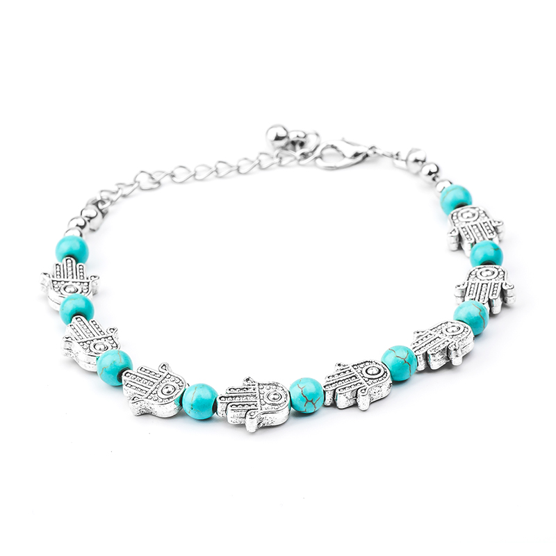 Nautical Starfish Stabilized Turquoise Bead Charm Link Anklet Ankle Bracelet For Women 925 Sterling Silver Adjustable