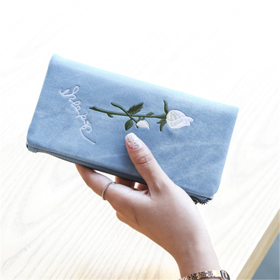 New folk style Embroidery Rose Canvas Long Wallet female soft cloth multi card with zipper purse Clutch Wallet Free shipping monsters of folk monsters of folk monsters of folk