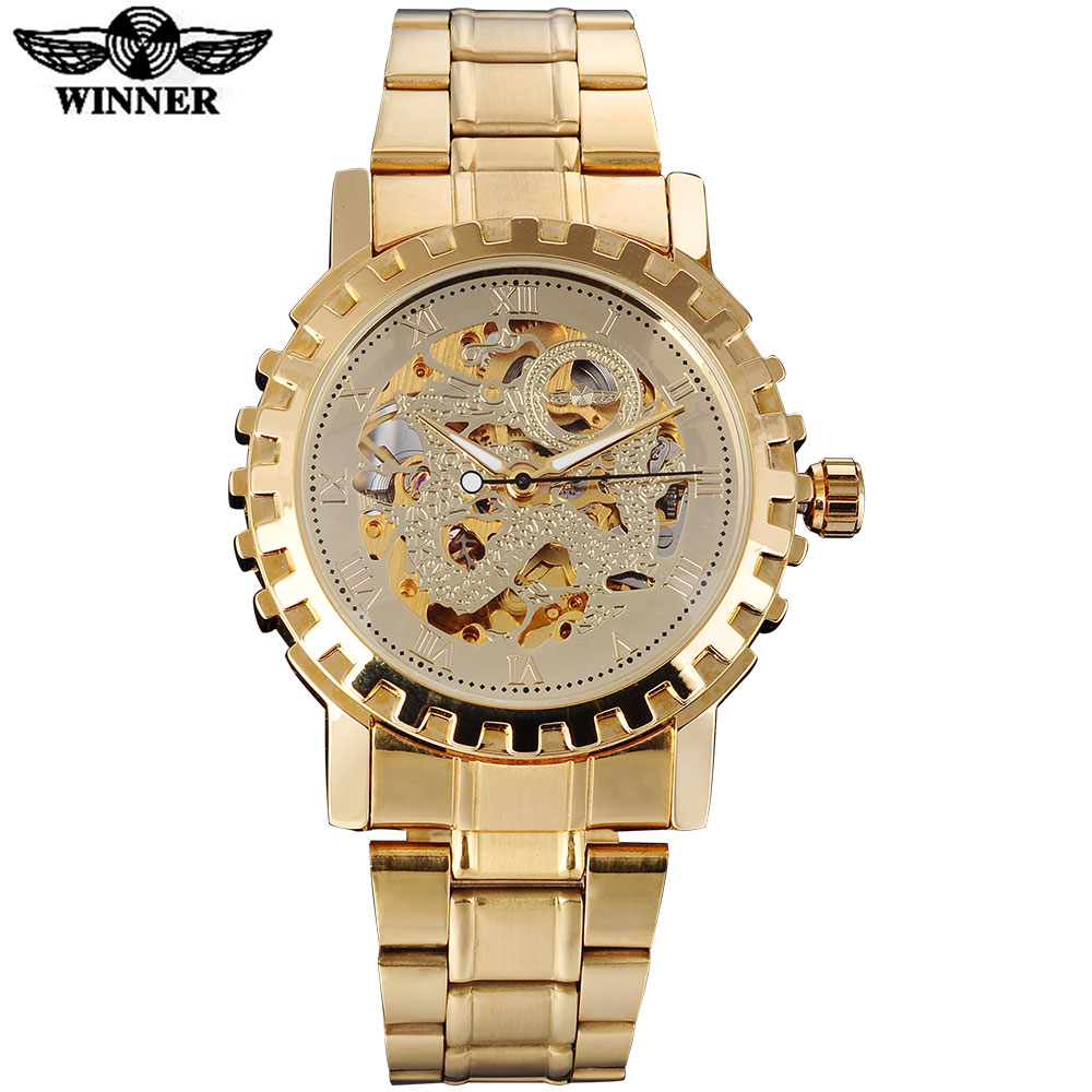 2016 WINNER famous brand men mechanical automatic gold watches male skeleton steel fashion wrist watches dragon dial gear case winner brand luxury gold steel case watch women brown leather band rhinestone dial skeleton automatic mechanical wrist watches