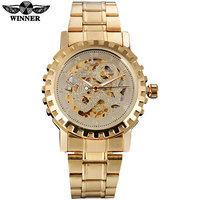 2016 WINNER Famous Brand Men Man Automatic Self Wind Watches Gold Dial Gold Case Transparent Glass