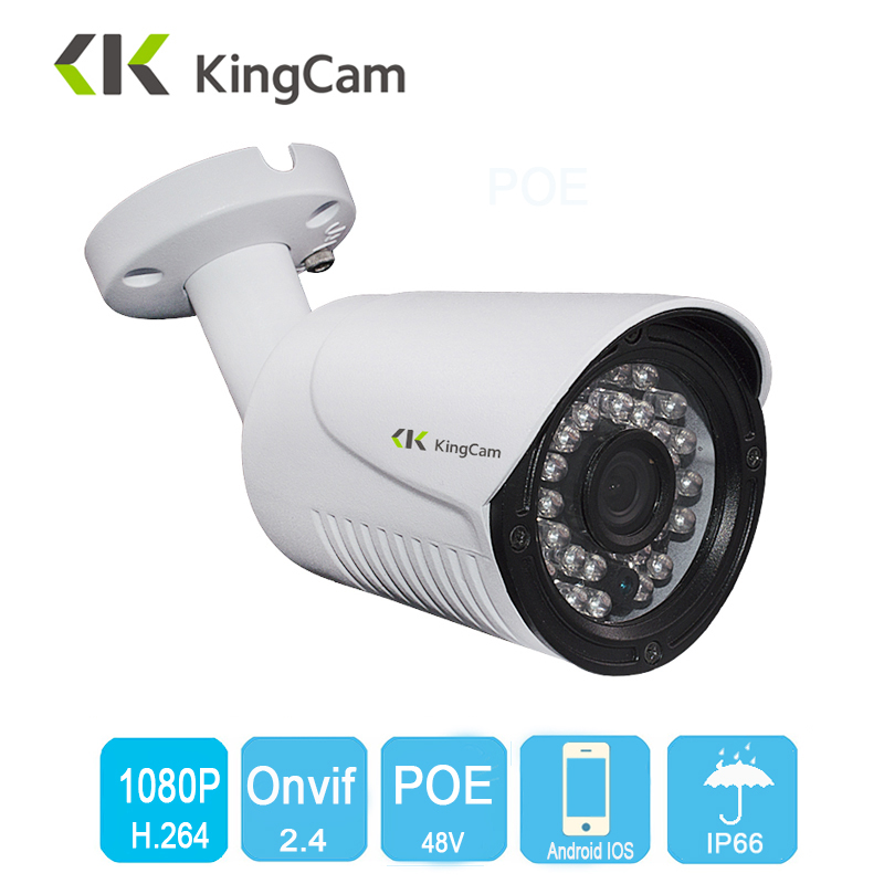 Kingcam Security POE IP Camera Metal Network Camera Video Surveillance 1080P Night Vision CCTV Waterproof outdoor 2MP Bullet Cam hd 1080p ip camera 48v poe security cctv infrared night vision metal outdoor bullet onvif network cam security surveillance p2p