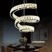 купить LED Modern Crystal Pendant Lamps Dimmable Spiral Pendant Lights Fixture 3 Colors Dimming Hanging Lamp Villa Home Indoor Lighting дешево