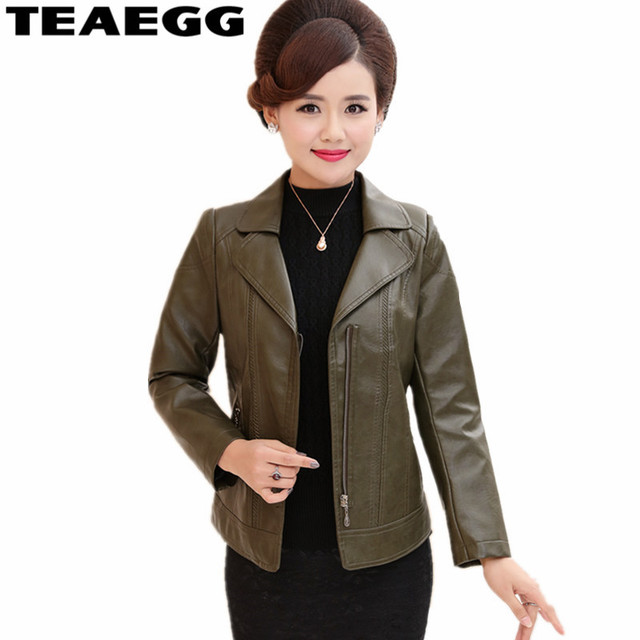 bad202f637051 TEAEGG Army Green PU Leather Jacket Woman 2019 Plus Size 5XL Faux Leather  Jackets Womens Coat