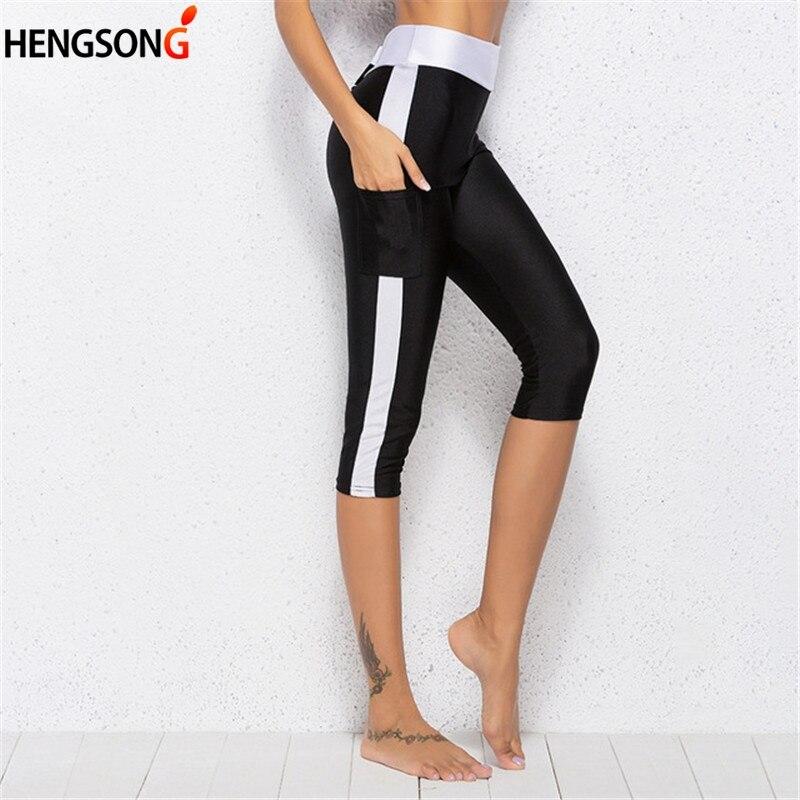 Pocket High Waist Leggings For Women Fitness Leggings Midi Calf Elastic Legins Leggins Women Capris Pants Female Trousers